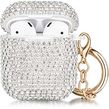 Case for Airpods, Filoto Cute AirPod Accessories Cases Cover Bling Crystal TPU Protective Case with Lobster Clasp Keychain for Apple Air Pods 2&1 Charging Case, Best Gift for Women Girls (Silver)