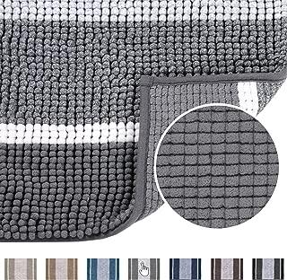 Super Cozy Chenille Microfiber Bathmat, Gradient Grey Stripe Pattern Soft Chenille Shaggy Rug for Bathroom, Slip-Resistant Absorbent Bathroom Floor Mat Machine Washable, 20×32 inch