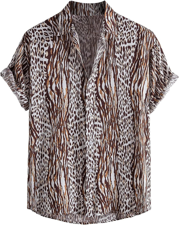 Shirt for Men's Tops Summer Dad Shirt Casual Short Sleeve Button Down Lapel Hawaiian Beach Blouse Top