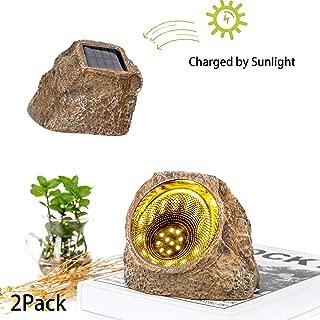 Flow.month Solar Powered Garden Stone Rock Light, 10 LED Solar Waterproof Outdoor Solar Spotlight Light for Garden, Patio, Backyard Pathway Driveway Landscape Rock(2 Pack)