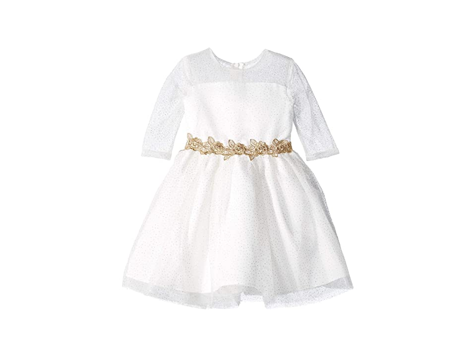 Us Angels 3/4 Sleeve Glitter Mesh Dress with Embroidered Lace Trim (Little Kids) (Ivory/Gold) Girl
