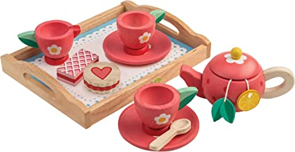 Tender Leaf Toys - Wooden Tea Tray Pretend Food Play Toy with Tea Bags and Snacks - Made with Premium Materials and Craftsmanship - Develops Problem Solving Skills and Imaginative Play - 3+ Years
