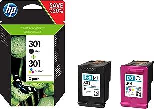HP N9J72AE 301 Pack de 2 Cartouches d'encre Noire/Trois Couleurs Authentiques pour HP Envy 4505 et HP DeskJet 1050/1512/2548/3057A Noire, Cyan, Magenta, Jaune