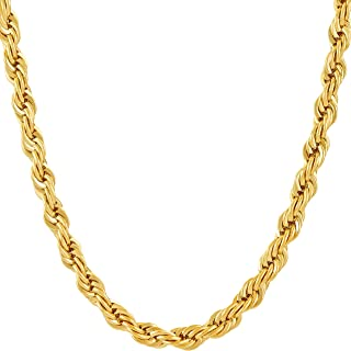 6mm Rope Chain Necklace for Men and Women 24k Real Gold...