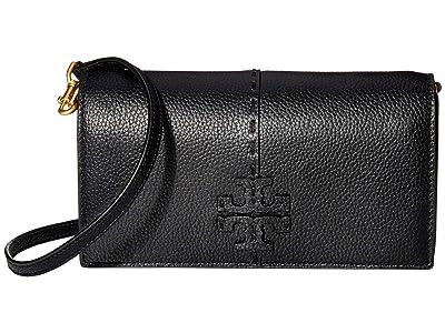 Tory Burch McGraw Wallet Crossbody (Black) Handbags