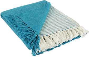 "DII Four Square Woven Throw, 50x60 with 3"" Fringe, Teal"