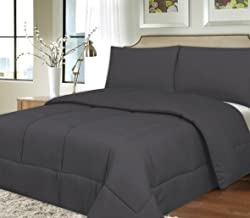 Sweet Home Collection Down Alternative Polyester Comforter Box Stitch Microfiber Bedding - Twin, Gray