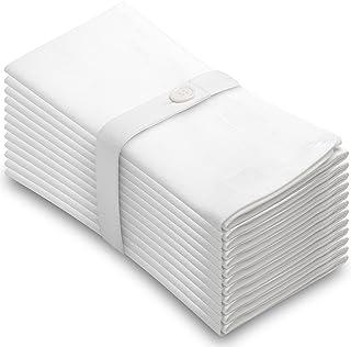 Aunti Em`s Kitchen White Cotton Napkins Cloth 20 x 20 Oversized 100% Natural Bulk Linens for Dinner, Events, Weddings, Set of 12