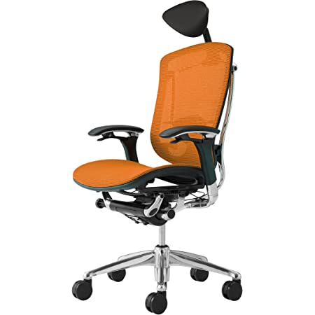 オカムラ オフィスチェア コンテッサ 可動肘 ヘッドレストタイプ 座:メッシュ オレンジ CM51AB-FBH8