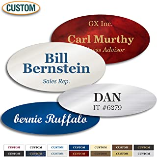 Personalized Name Tag, Laser Engraved, Pin, Magnetic or Adhesive Backing, Choice of Colors, Classic Oval Collection by My Sign Center (1.5