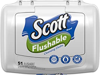 Scott Flushable Wipes, Fragrance-Free, 8 Tubs with 408 Wet Wipes Total