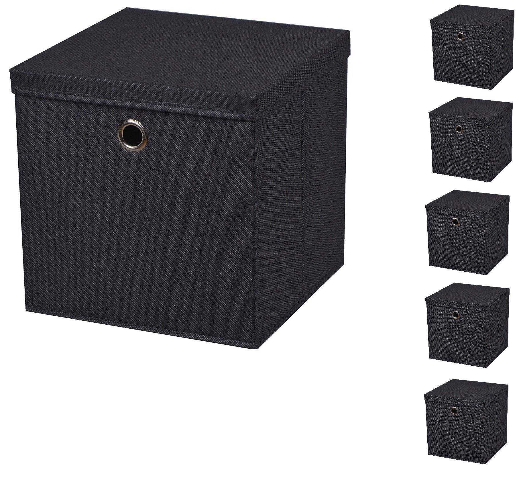 StickandShine 6 Pieza Negro Caja Plegable Boxas 28 x 28 x 28 cm en Tejido Caja de almacenaje Plegable con Tapa (mit Deckel): Amazon.es: Hogar