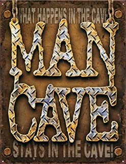 """Wisesign Metal Vintage Signs What Happens in The Cave, Man Cave Tin Sign Indoor Man Cave 12""""x16"""" Wall Personalized Decor"""