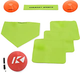 Rukket Kickball Set with Bases | Rubber Throw Down Plates and Kick Ball | Perfect for Kids and Adults | Playground and Bac...