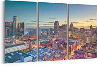Detroit Skyline Wall Art Detroit Canvas Print Detroit Canvas Michigan Multiple Sizes Gallery Wrapped Canvas on Pine Wooden Frame