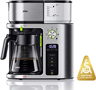 Braun MultiServe Coffee Machine 7 Programmable Brew Sizes / 3 Strengths + Iced Coffee & SCA Certified, Glass Carafe (10-Cup), Stainless Steel, KF9070SI