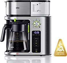 Braun KF9070SI MultiServe Coffee Machine 7 Programmable Brew Sizes / 3 Strengths + Iced Coffee & Hot Water for Tea, Glass Carafe (10-Cup)