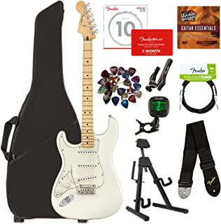 Fender Player Stratocaster, Maple, Left Handed - Polar White Bundle with Gig Bag, Stand, Cable, Tuner, Strap, Strings, Picks, Capo, Fender Play Online Lessons, and Austin Bazaar Instructional DVD