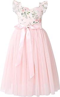 فستان Flofallzique من التول للفتيات بتصميم الزهور في الصيف وحفلات الزفاف وأعياد الميلاد وحفلات الشاي
