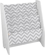 KidKraft Wooden Sling Bookcase - Gray & White- Sturdy Canvas Fabric, Chevron Pattern, Kids Bookshelf, Young Reader Support