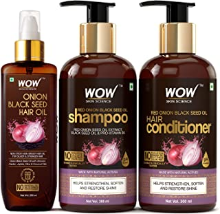 WOW Skin Science Onion Black Seed Oil Ultimate Hair Care Kit (Shampoo + Hair Conditioner + Hair Oil)