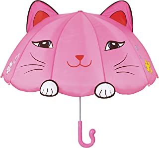 Kidorable Pink Lucky Cat Umbrella for Girls w/Fun Cat Tail Handle, Pop-Up Ears, Paws
