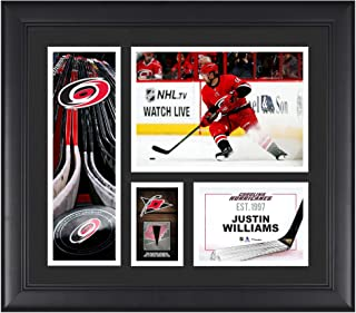 "Justin Williams Carolina Hurricanes Framed 15"" x 17"" Player Collage with a Piece of Game-Used Puck - Fanatics Authentic Certified"