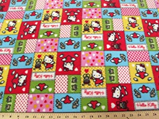 Hello Kitty Patches Red Fleece Fabric A45