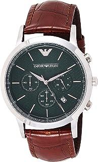 ساعة يد رسمية للرجال من علامة امبوريو ارماني بحزام جلدي بلون بيج داكن AR2493