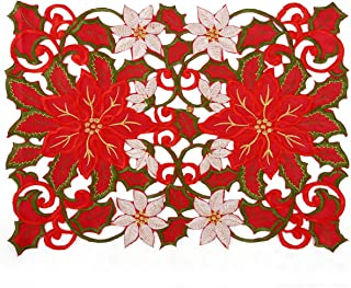 Christmas Holiday Embroidered Poinsettia Table Placemat 12 × 18 Inch Set of 4