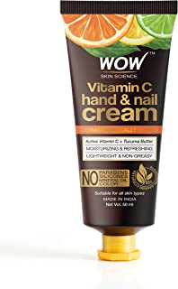 WOW Skin Science Vitamin C Hand & Nail Cream - Moisturizing & Refreshing - Lightweight & Non-Greasy - Quick Absorb - For A...