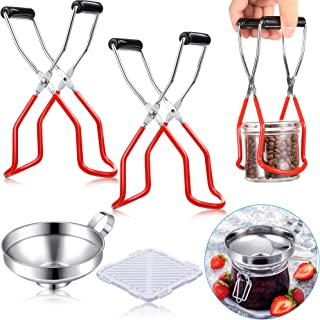 4 Pieces Canning Jar Lifter Set, Includes 2 Pieces Canning Jar Lifter with Grip Handles, Insulation Pad, Stainless Steel F...