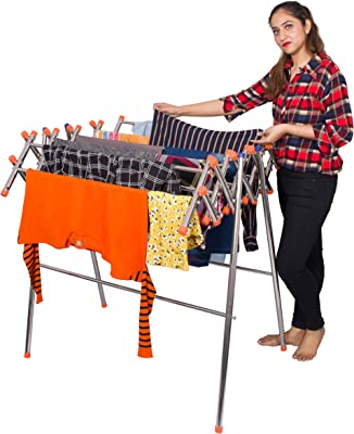 PARASNATH Lotus Stainless Steel Clothes Drying Stand with Orange Caps (Silver)