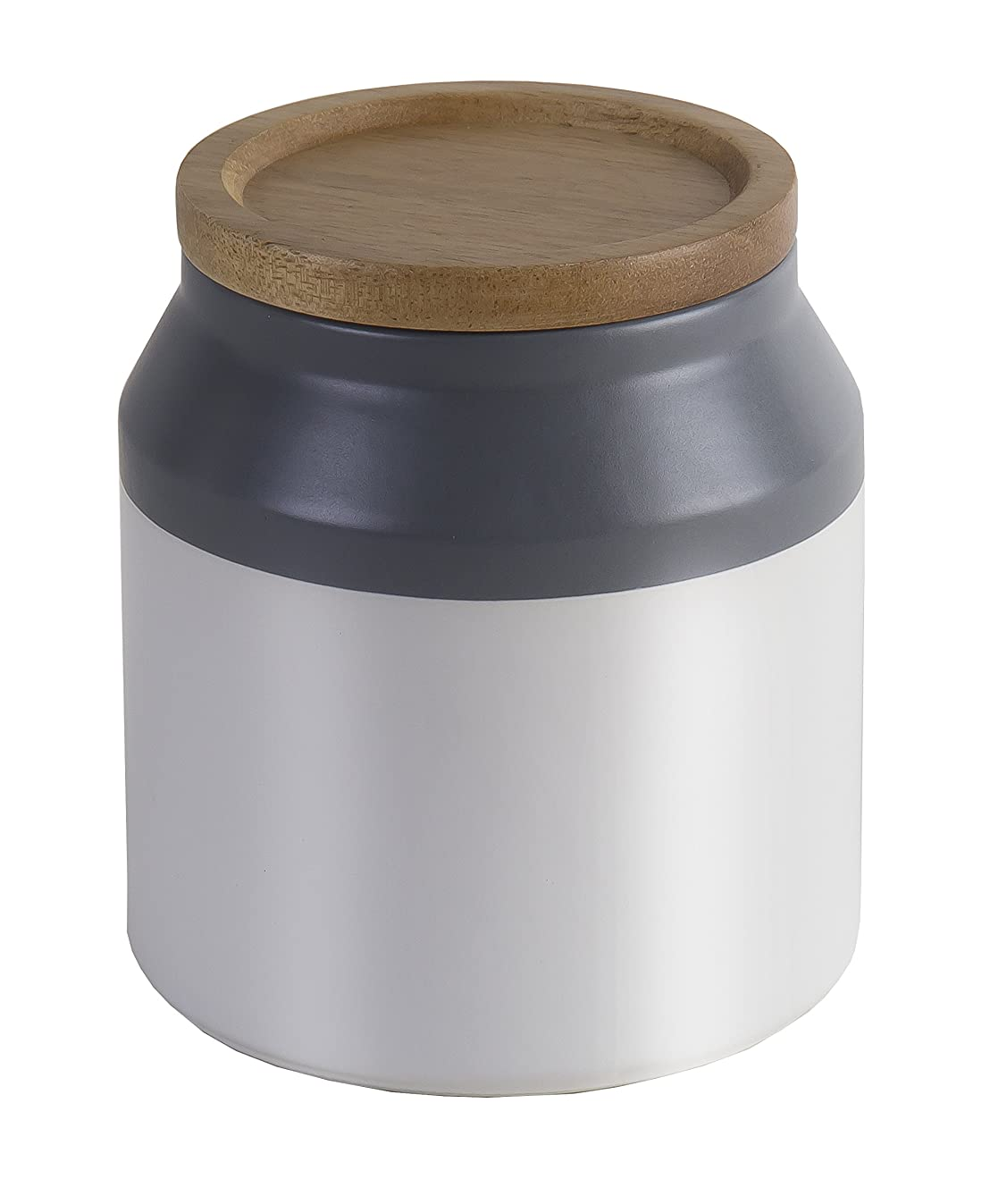 Jamie Oliver Food Storage Jar with Wooden Lid, Small Ceramic Kitchen Container, Gray