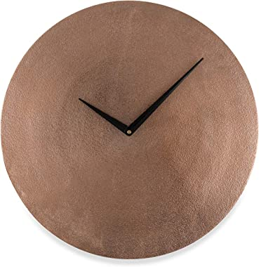 Boho Traders Aluminum Hammered Round Wall Clock, Copper