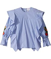Oscar de la Renta Childrenswear - Striped Cotton Blouse w/ Ruffles & Floral Embroidery (Toddler/Little Kids/Big Kids)