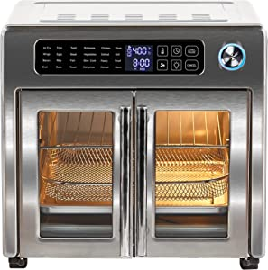 Emeril Lagasse 10-in-1 Double French Door Air Fryer 360, Extra Large Countertop Convection Toaster Oven with Rotisserie, Stainless Steel—26 quart