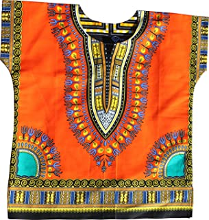 RaanPahMuang Unisex Bright Africa Colour Children Dashiki Cotton Shirt
