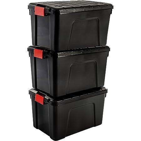 Iris Ohyama SIA-60, Set-3 Boites de Rangement Bricolage-Store It All-60L, Noir et Rouge, 59 x 39,5 x 35,5 cm, Plastique, 60 L