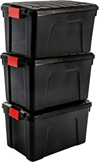 Iris Ohyama SIA-60, Set- 3 Boites de Rangement Bricolage - Store It All- 60L, Noir et Rouge, 59 x 39,5 x 35,5 cm, Plastique