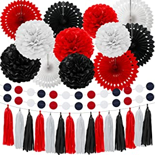 29 Pieces Black And Red Paper Fans Pom Poms Flowers Tissue Paper Tassel Garland Garlands String Polka Dot Red And Black Party Decorations For Halloween Minnie Mouse Birthday Parties Baby Showers Weddi