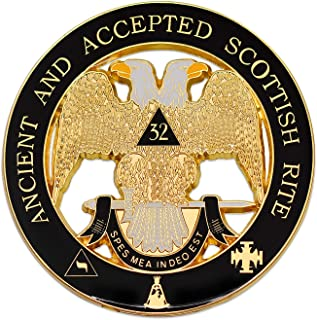32nd Degree Ancient & Accepted Scottish Rite Masonic Round Black Auto Emblem - 3