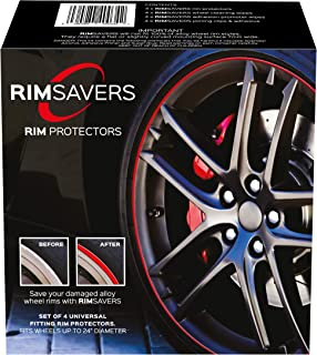 RimSavers RimBladesUSA Set of 4 Rim Protectors - Red | Alloy Wheel Protection | The Original Rim Protectors | Easy to Install