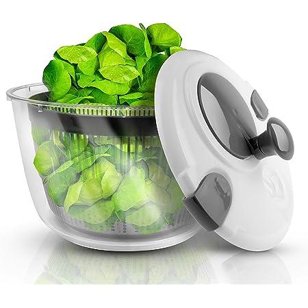 LACARI Essoreuse à Salade | Passoire en Plastique de 3,1 litres | Transparent/Gris | Essoreuses à Salade | Tamis amovilble | Essoreuse Salade Passoire | Gén. 2021