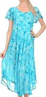 Sakkas Sayli Long Tie Dye Cap Sleeve Embroidered Wide Neck Caftan Dress/Cover Up