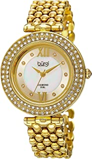 Burgi Diamond & Crystal Accented Women's Watch - 10 Diamond Hour Markers on Mother-of-Pearl Dial On Bracelet Watch - BUR126