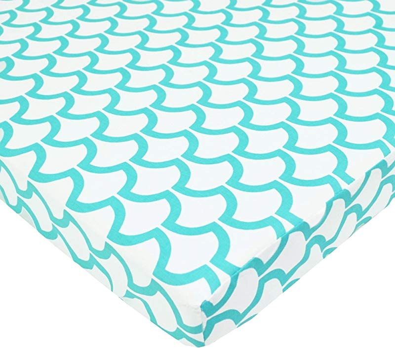 TL Care 100 Natural Cotton Percale Fitted Mini Crib Sheet Aqua Sea Wave Soft Breathable For Boys And Girls