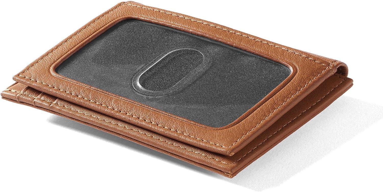 Leatherology Cognac Men's Money Clip Card Holder Wallet with ID Window
