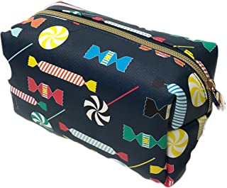 Candy Themed Zippered Cosmetic Makeup Pencil Case Travel Carrier Bag with Colorful Candies Print