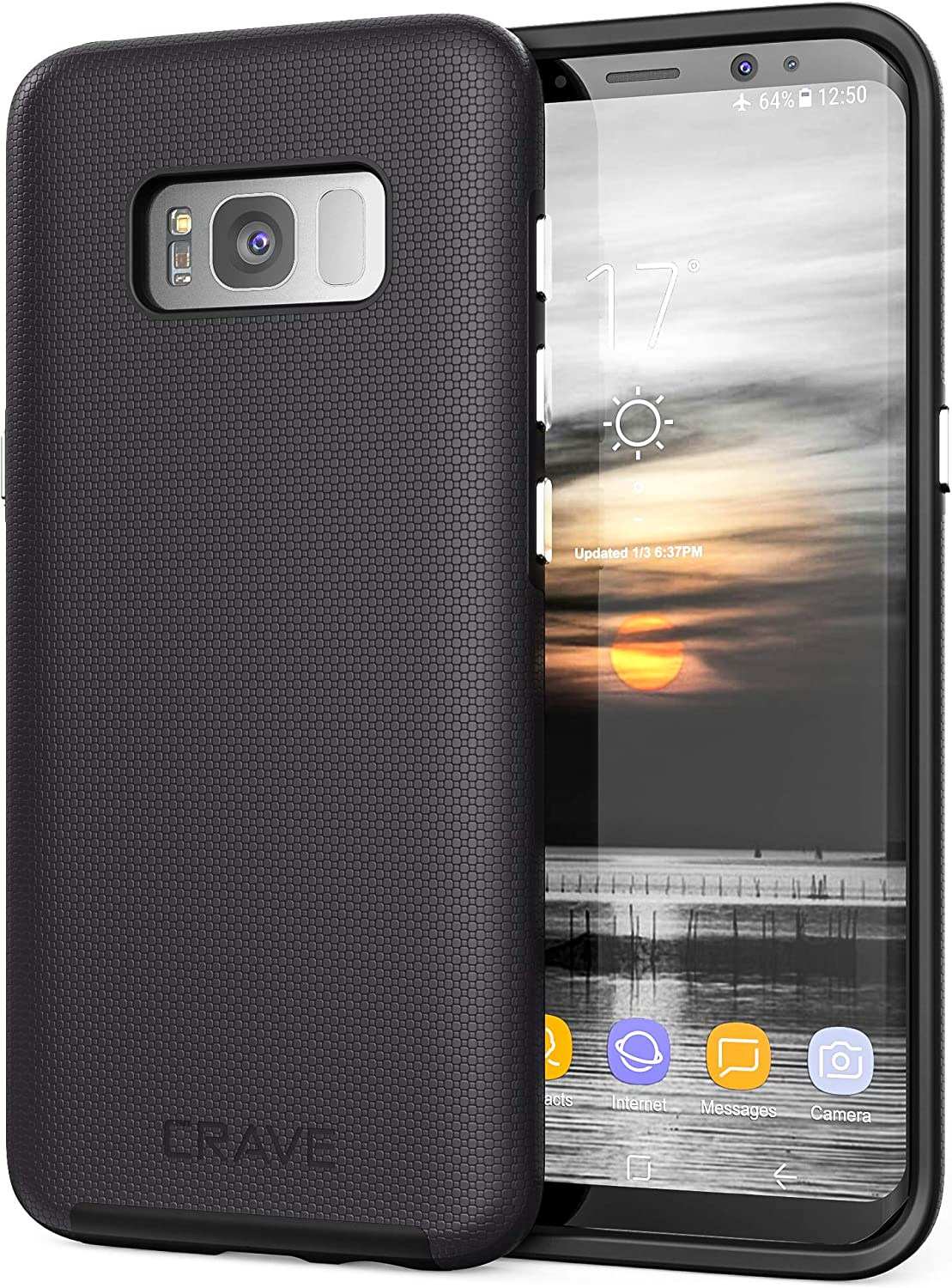 Crave Dual Guard for Samsung S8 Case, Shockproof Protection Dual Layer Case for Samsung Galaxy S8 - Black